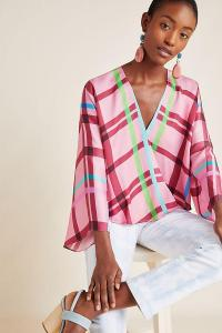 Guapa Carrie Blouse in Medium Pink / large check prints