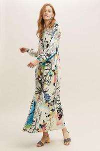 ANTHROPOLOGIE Genna Printed Maxi Dress in Assorted / abstract geometric prints