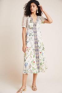 Geisha Designs Embroidered Floral Midi Dress in Neutral Motif / feminine style summer dresses