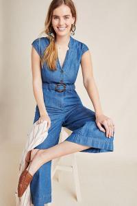 Anthropologie Judy Wide-Leg Denim Jumpsuit in Medium Blue | cap sleeve jumpsuits
