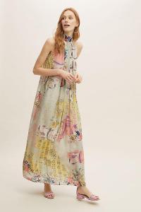 Bhanuni by Jyoti Floral-Printed Halterneck Maxi Dress / long halter dresses