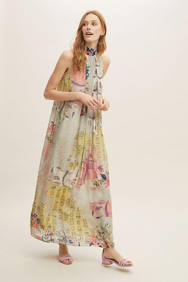 Bhanuni by Jyoti Floral-Printed Halterneck Maxi Dress / long halter dresses
