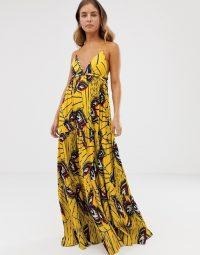 BA&SH plisse maxi dress with open back Yellow Multi | thin strap deep V-neck dresses
