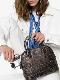 Balenciaga Charcoal Grey Ville Small Croc Print Leather Shoulder Bag / neat little handbag