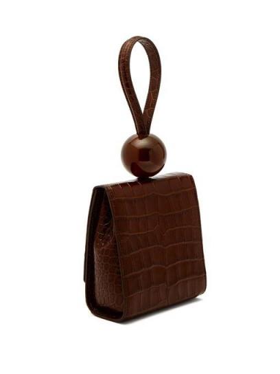 BY FAR Ball crocodile-effect brown leather clutch ~ small croc bag