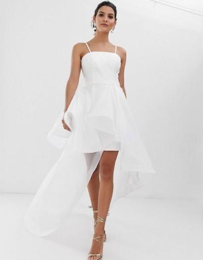 Bariano bridal bandeau organza high low hem maxi dress in white – floaty thin strap wedding dresses