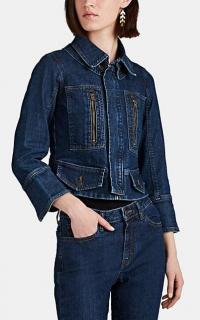 BARNEYS NEW YORK Peplum-Hem Denim Trucker Jacket