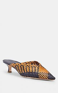 BARNEYS NEW YORK V'd-Throat Woven Leather Mules in Navy / Brown ~ chic point toe kitten heels