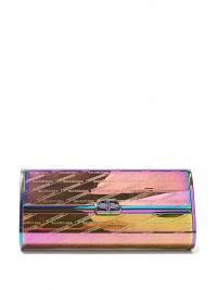 BALENCIAGA BB Hard logo-embossed iridescent leather clutch in pink / small designer bags