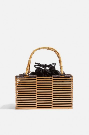 TOPSHOP BEAR Wooden Grab Bag in Natural