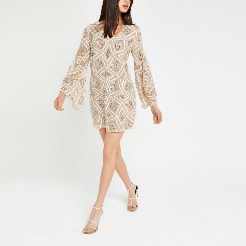River Island Beige sequin embellished shift dress   sequinned party dresses