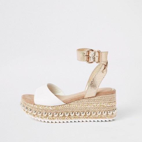 River Island Beige studded flatform espadrille wedges | luxe style wedged flatforms