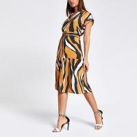 RIVER ISLAND Beige zebra print midi shirt dress / animal printed fashion