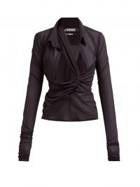 JACQUEMUS Bellagio cross-front cut-out crepe blouse in black ~ contemporary blouses