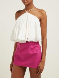 JACQUEMUS Belluno tie-back cotton and linen-blend top in white ~ strappy summer vacation tops