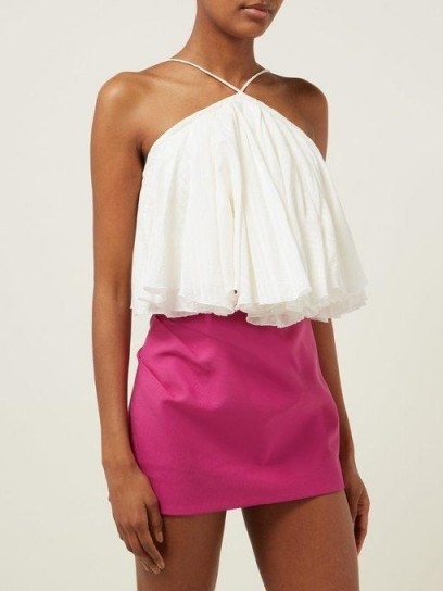 JACQUEMUS Belluno tie-back cotton and linen-blend top in white ~ strappy summer vacation tops - flipped