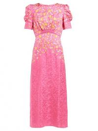 SALONI Bianca floral-embroidered silk dress in pink ~ ladylike vintage style dresses