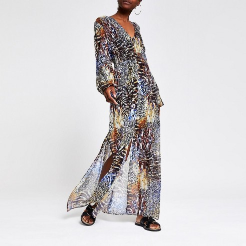 RIVER ISLAND Black animal print maxi dress / long floaty dresses