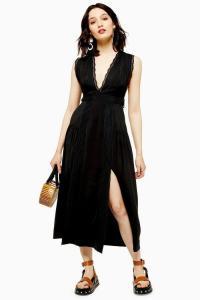 Topshop Black Lace Insert Pinafore Dress | sleeveless deep V-neck summer dresses