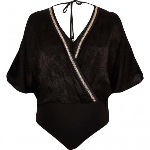 River Island Black snake embellished trim bodysuit | wrap front bodysuits