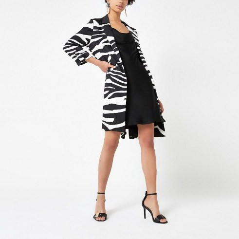 RIVER ISLAND Black zebra print longline blazer – animal stripes – printed jackets - flipped