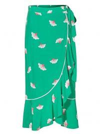 OLIVER BONAS Blossom Green & White Midi Skirt / asymmetric floral wrap skirts
