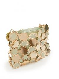PACO RABANNE Blossom 1969 metal and satin shoulder bag ~ gold and mint green metallic bags