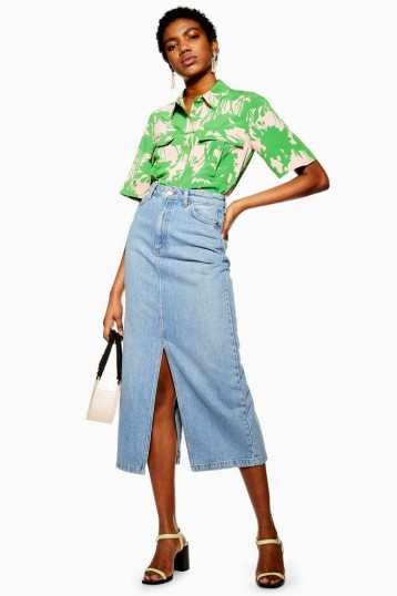Topshop Blue Split Front Denim Midi Skirt | classic slit skirts