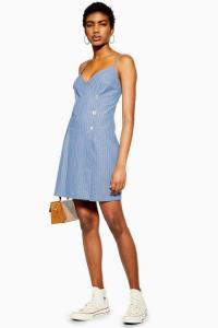 Topshop Blue Stripe Wrap Dress | lightweight denim dresses