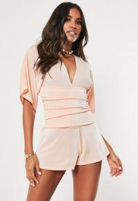 MISSGUIDED blush kimono ruched belted playsuit – pale pink playsuits