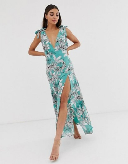 Boohoo plunge maxi dress in green floral / thigh high spit dresses
