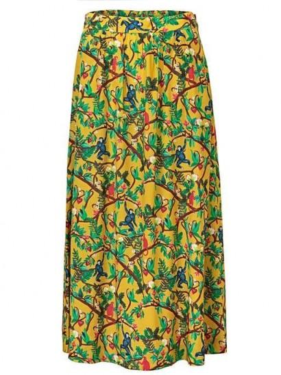 OLIVER BONAS Botanical Print Yellow Maxi Skirt