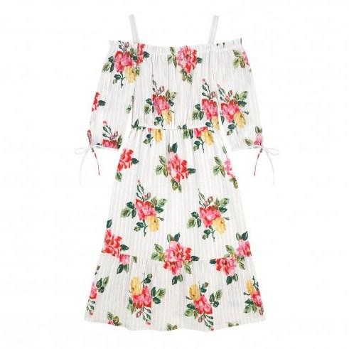 CATH KIDSTON BOX FLORA SPRAY OFF SHOULDER COTTON DRESS / cute floral summer dresses - flipped