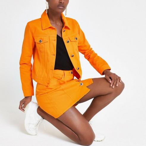River Island Bright orange denim fitted jacket | summer jackets