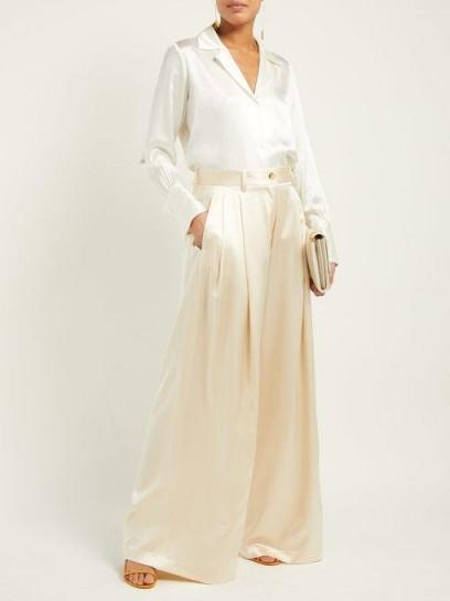 NILI LOTAN Brixton ivory silk wide-leg trousers ~ luxe wide leg pants