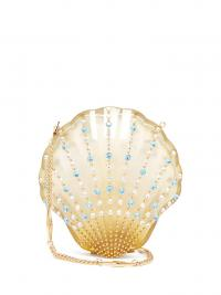 GUCCI Broadway crystal-embellished seashell bag in pale-yellow ~ small luxe bags ~ sea inspired accessory