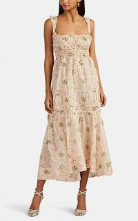 BROCK COLLECTION Drawstring-Tiered Floral Cotton Maxi Dress / smocked summer dresses