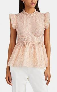BROCK COLLECTION Ruffle Floral-Lace Bustier Peplum Top / feminine designs