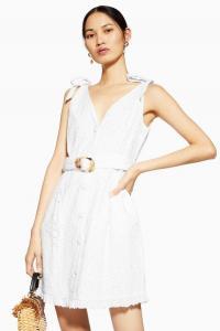 Topshop Broderie Buckle Mini Dress in white | deep V-neckline summer frock