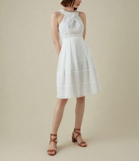 KAREN MILLEN Broderie Halterneck Dress in white ~ feminine summer clothing