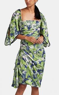 BROGGER Juliana Floral Jacquard Dress in Green ~ chic gathered dresses