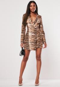 MISSGUIDED brown animal print blazer dress