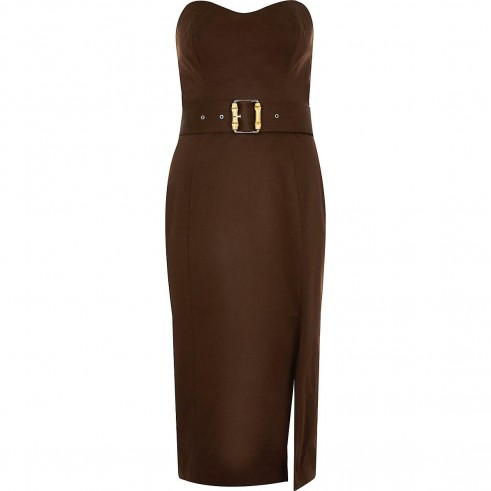 RIVER ISLAND Brown bandeau bodycon dress – strapless fitted dresses