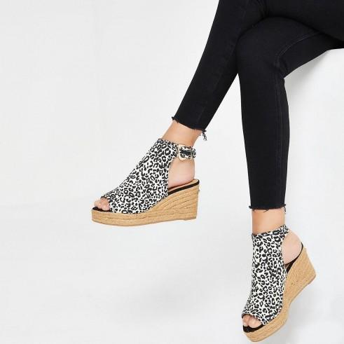 River Island Brown leopard print wedge sandals | animal wedges