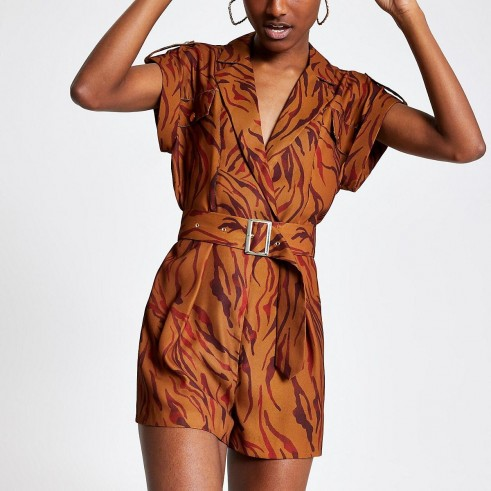 RIVER ISLAND Brown zebra print utility playsuit / utilitarian style fashion