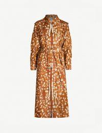 BURBERRY Deer-print shell trench coat in Honey / animal printed coats