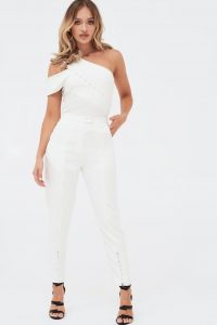 LAVISH ALICE button detail tailored trousers in white – going out glamour