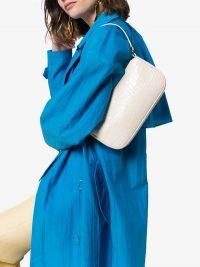 BY FAR Cream Rachel Mock Croc Leather Shoulder Bag / animal printed handbag
