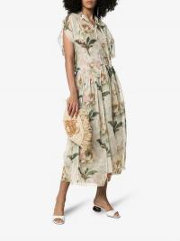 By Walid Aida Lotus Flower Printed Dress in Cream / feminine floral dresses