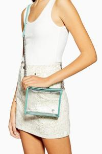 Topshop CAMI Clear TPU Mint Cross Body Bag | small green and clear crossbody